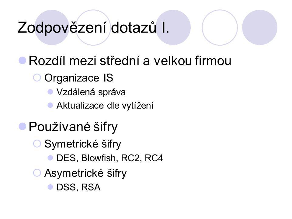 Zodpovězení dotazů I. Rozdíl mezi střední a velkou firmou  Organizace IS Vzdálená správa Aktualizace dle vytížení Používané šifry  Symetrické šifry