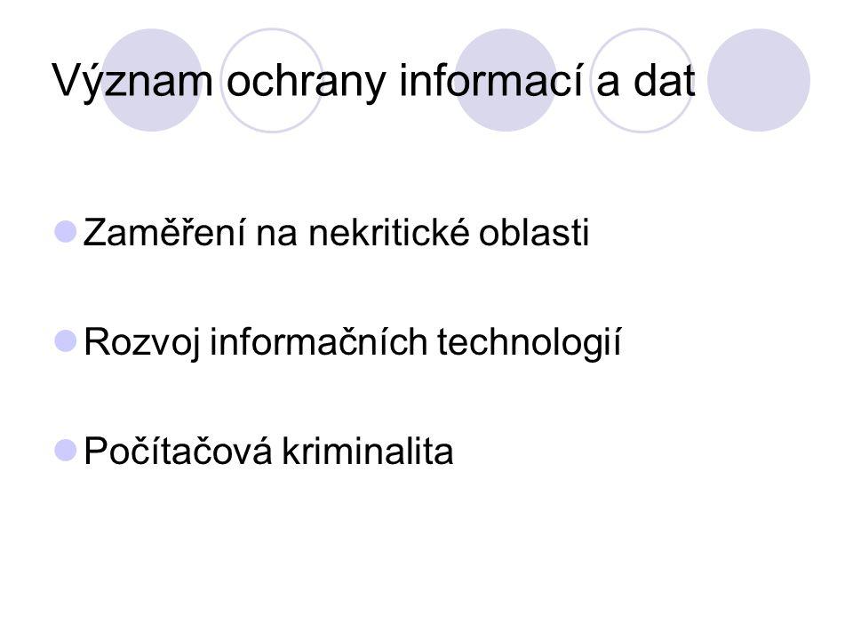 Význam ochrany informací a dat Zaměření na nekritické oblasti Rozvoj informačních technologií Počítačová kriminalita