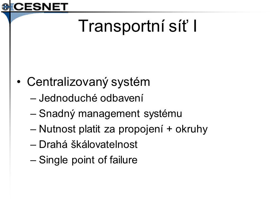 Transportní síť I Centralizovaný systém –Jednoduché odbavení –Snadný management systému –Nutnost platit za propojení + okruhy –Drahá škálovatelnost –Single point of failure