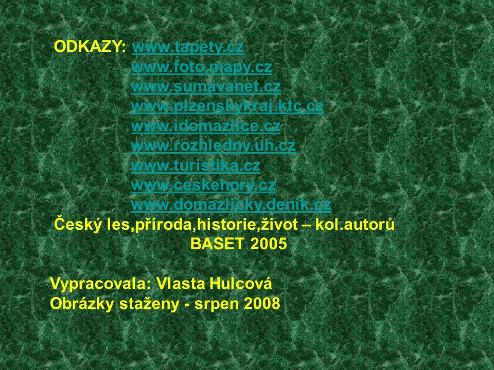 ODKAZY: www.tapety.czwww.tapety.cz www.foto.mapy.cz www.sumavanet.cz www.plzenskykraj.ktc.cz www.idomazlice.cz www.rozhledny.uh.cz www.turistika.cz www.ceskehory.cz www.domazlicky.denik.cz Český les,příroda,historie,život – kol.autorů BASET 2005 Vypracovala: Vlasta Hulcová Obrázky staženy - srpen 2008