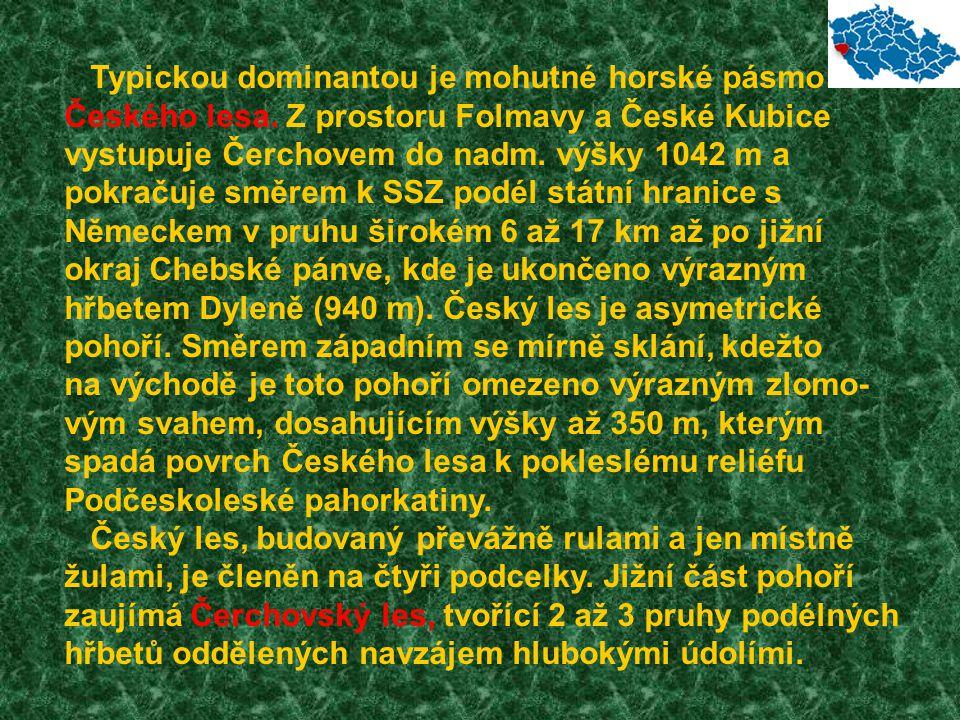 Typickou dominantou je mohutné horské pásmo Českého lesa. Z prostoru Folmavy a České Kubice vystupuje Čerchovem do nadm. výšky 1042 m a pokračuje směr
