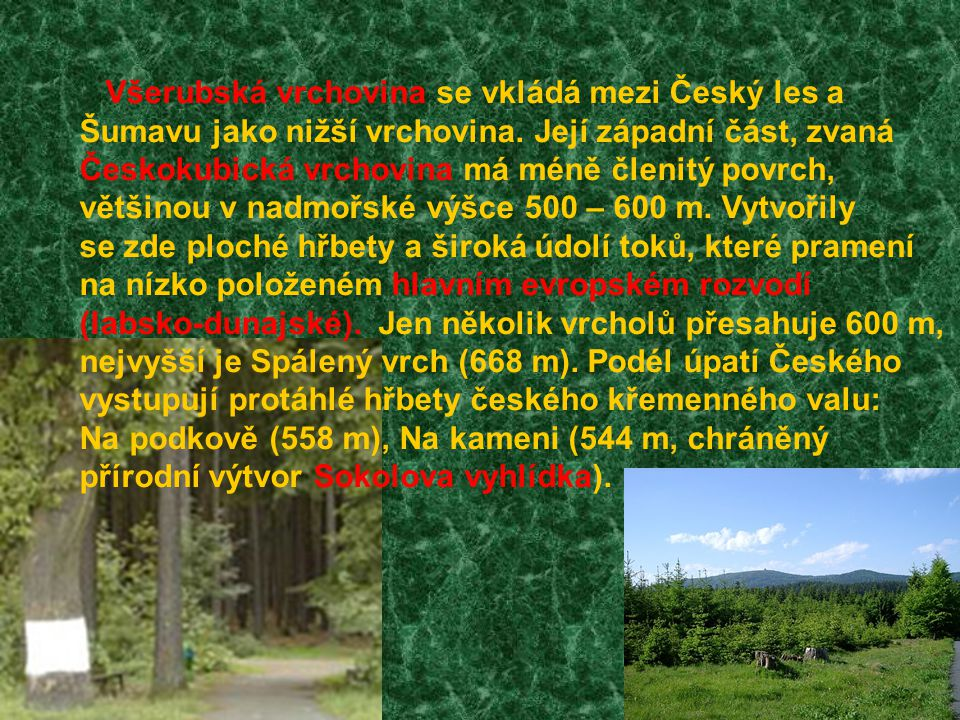 Všerubská vrchovina se vkládá mezi Český les a Šumavu jako nižší vrchovina. Její západní část, zvaná Českokubická vrchovina má méně členitý povrch, vě