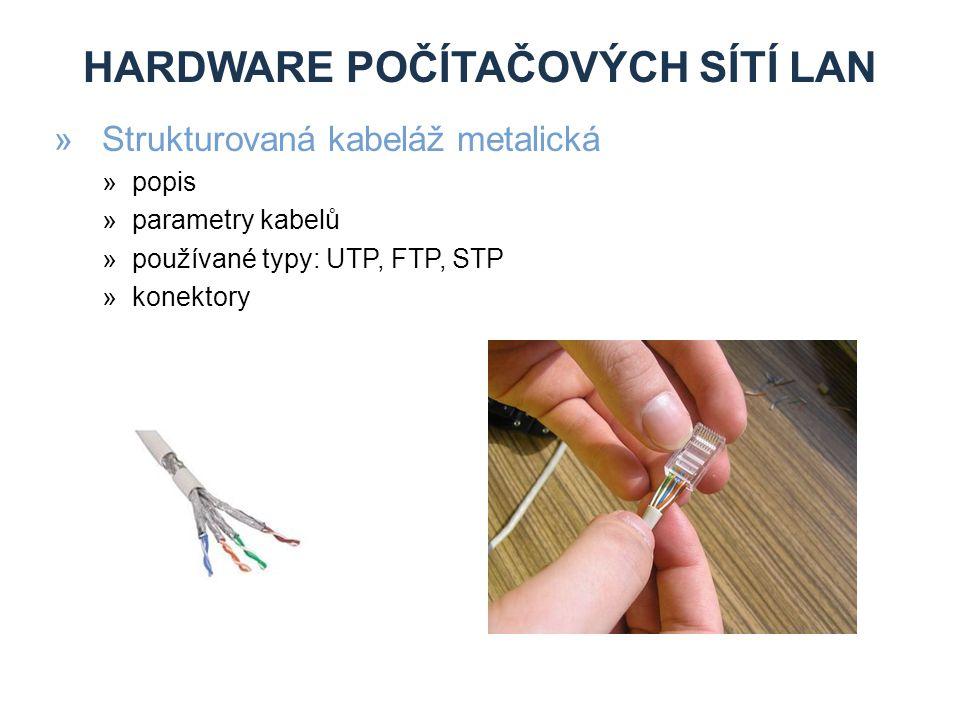 HARDWARE POČÍTAČOVÝCH SÍTÍ LAN »Strukturovaná kabeláž metalická »popis »parametry kabelů »používané typy: UTP, FTP, STP »konektory