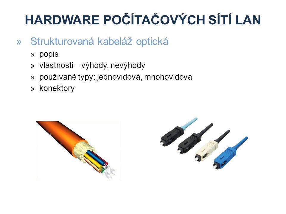HARDWARE POČÍTAČOVÝCH SÍTÍ LAN »Strukturovaná kabeláž optická »popis »vlastnosti – výhody, nevýhody »používané typy: jednovidová, mnohovidová »konektory