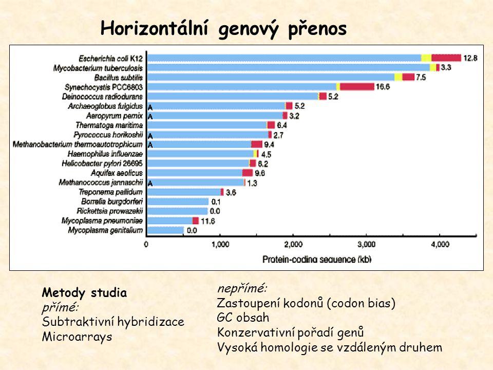 Horizontální genový přenos Metody studia přímé: Subtraktivní hybridizace Microarrays nepřímé: Zastoupení kodonů (codon bias) GC obsah Konzervativní po