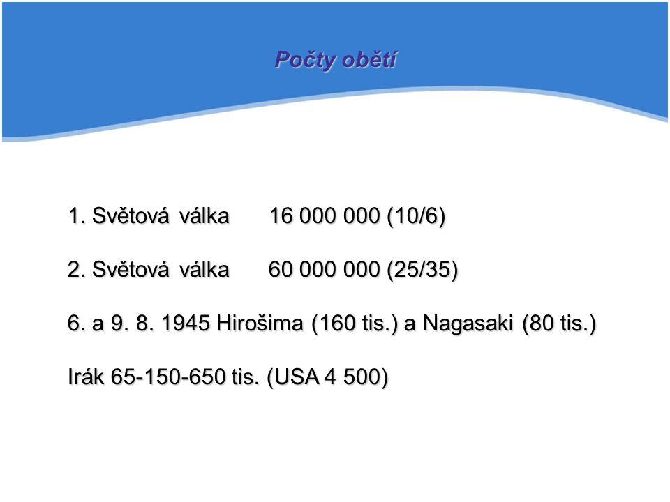 1. Světová válka16 000 000 (10/6) 2. Světová válka60 000 000 (25/35) 6. a 9. 8. 1945 Hirošima (160 tis.) a Nagasaki (80 tis.) Irák 65-150-650 tis. (US