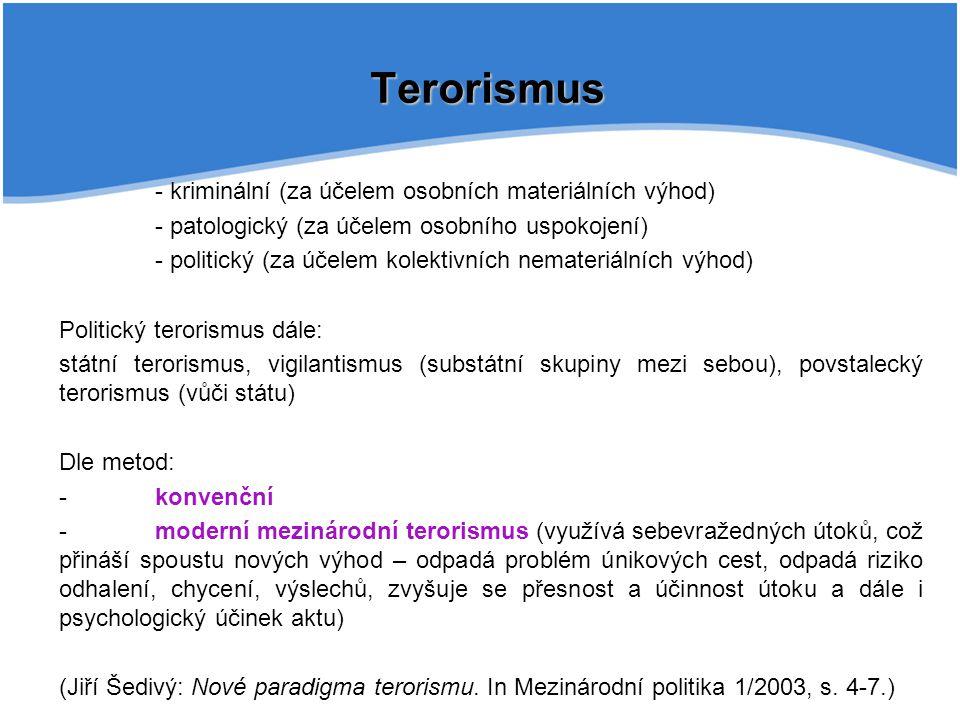 Terorismus - kriminální (za účelem osobních materiálních výhod) - patologický (za účelem osobního uspokojení) - politický (za účelem kolektivních nema