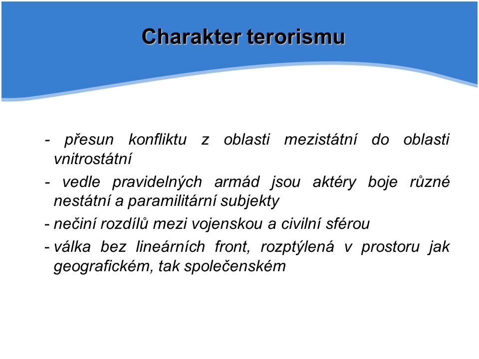 Charakter terorismu - přesun konfliktu z oblasti mezistátní do oblasti vnitrostátní - vedle pravidelných armád jsou aktéry boje různé nestátní a param