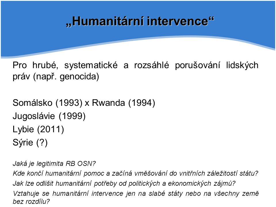 """""""Humanitární intervence"""" Pro hrubé, systematické a rozsáhlé porušování lidských práv (např. genocida) Somálsko (1993) x Rwanda (1994) Jugoslávie (1999"""