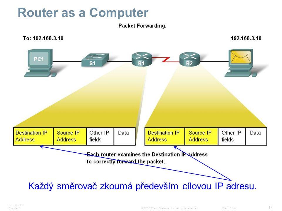 ITE PC v4.0 Chapter 1 17 © 2007 Cisco Systems, Inc. All rights reserved.Cisco Public Router as a Computer Každý směrovač zkoumá především cílovou IP a