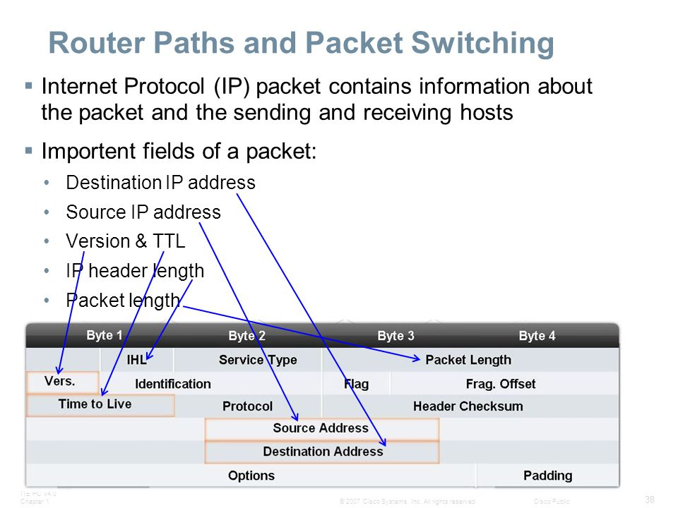 ITE PC v4.0 Chapter 1 38 © 2007 Cisco Systems, Inc. All rights reserved.Cisco Public Router Paths and Packet Switching  Internet Protocol (IP) packet