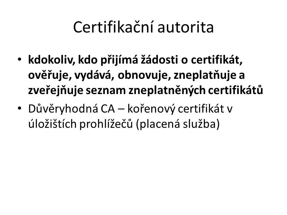 Certifikační autorita kdokoliv, kdo přijímá žádosti o certifikát, ověřuje, vydává, obnovuje, zneplatňuje a zveřejňuje seznam zneplatněných certifikátů Důvěryhodná CA – kořenový certifikát v úložištích prohlížečů (placená služba)