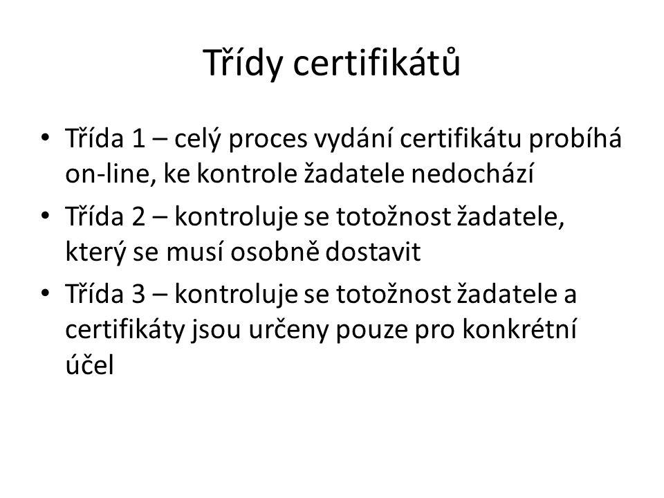 Třídy certifikátů Třída 1 – celý proces vydání certifikátu probíhá on-line, ke kontrole žadatele nedochází Třída 2 – kontroluje se totožnost žadatele, který se musí osobně dostavit Třída 3 – kontroluje se totožnost žadatele a certifikáty jsou určeny pouze pro konkrétní účel