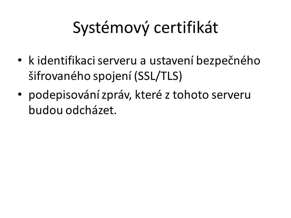 Systémový certifikát k identifikaci serveru a ustavení bezpečného šifrovaného spojení (SSL/TLS) podepisování zpráv, které z tohoto serveru budou odcházet.