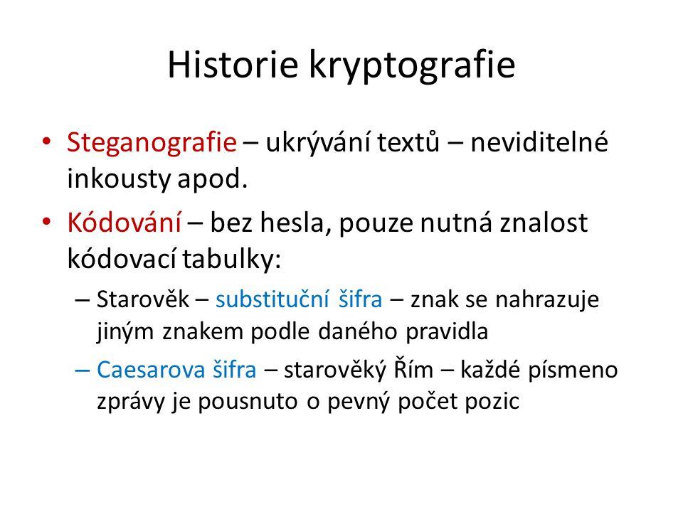 Historie kryptografie Steganografie – ukrývání textů – neviditelné inkousty apod. Kódování – bez hesla, pouze nutná znalost kódovací tabulky: – Starov