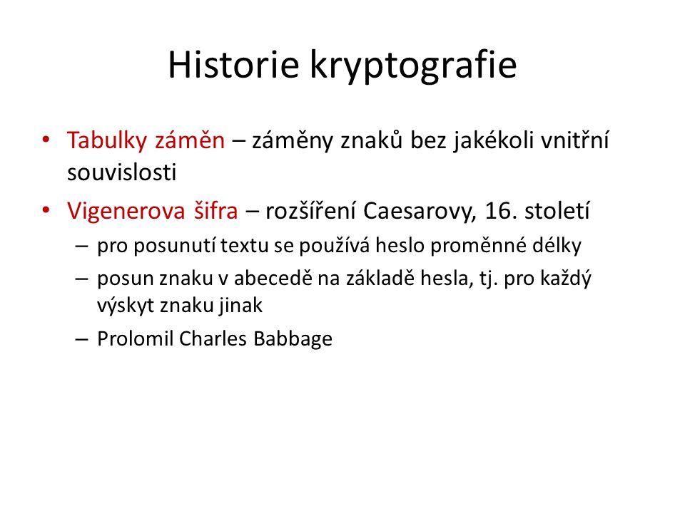 Historie kryptografie Tabulky záměn – záměny znaků bez jakékoli vnitřní souvislosti Vigenerova šifra – rozšíření Caesarovy, 16. století – pro posunutí