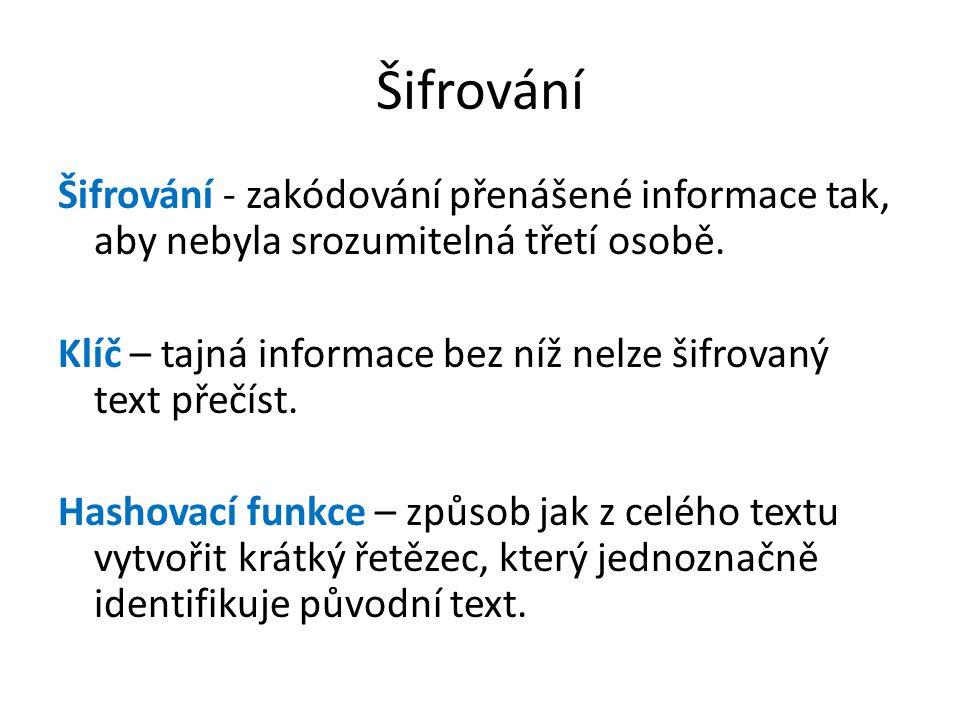 Šifrování Šifrování - zakódování přenášené informace tak, aby nebyla srozumitelná třetí osobě.
