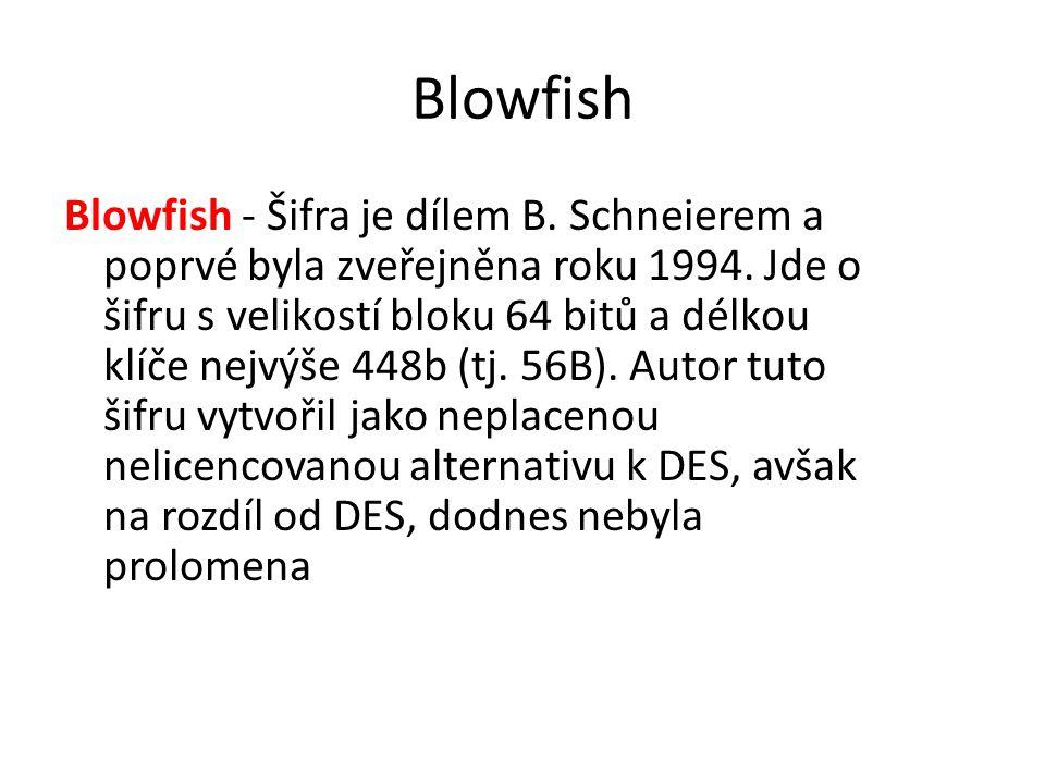Blowfish Blowfish - Šifra je dílem B. Schneierem a poprvé byla zveřejněna roku 1994. Jde o šifru s velikostí bloku 64 bitů a délkou klíče nejvýše 448b