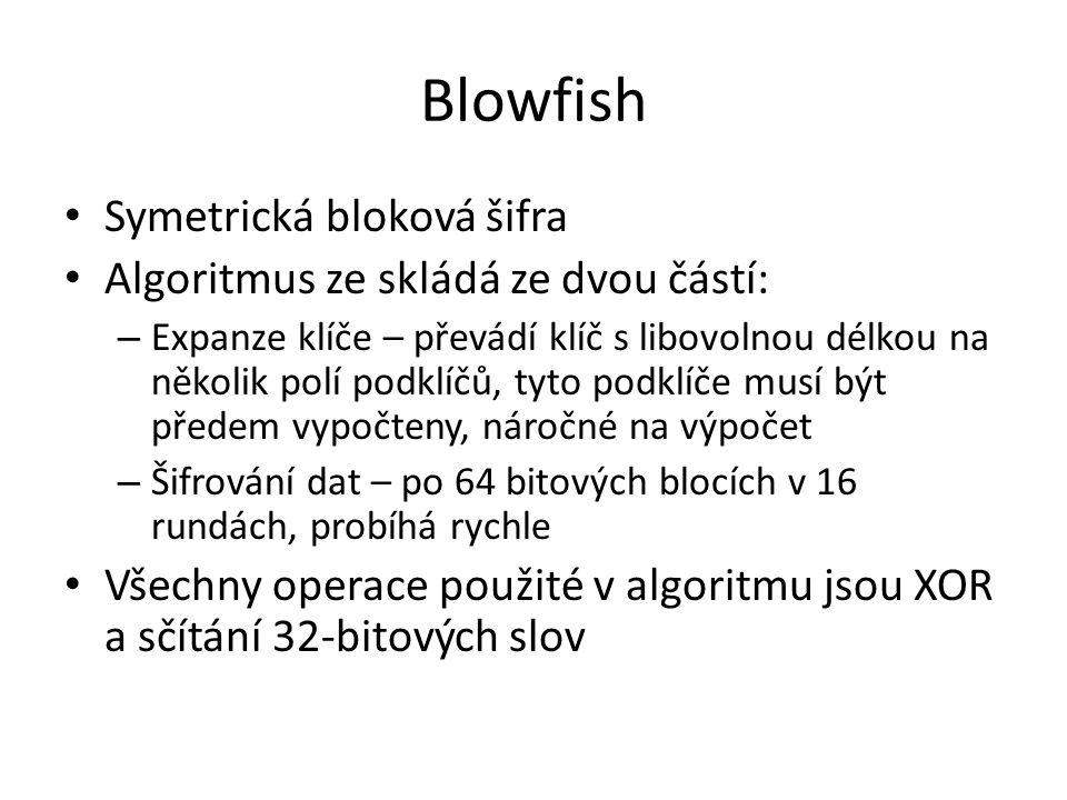 Blowfish Symetrická bloková šifra Algoritmus ze skládá ze dvou částí: – Expanze klíče – převádí klíč s libovolnou délkou na několik polí podklíčů, tyto podklíče musí být předem vypočteny, náročné na výpočet – Šifrování dat – po 64 bitových blocích v 16 rundách, probíhá rychle Všechny operace použité v algoritmu jsou XOR a sčítání 32-bitových slov