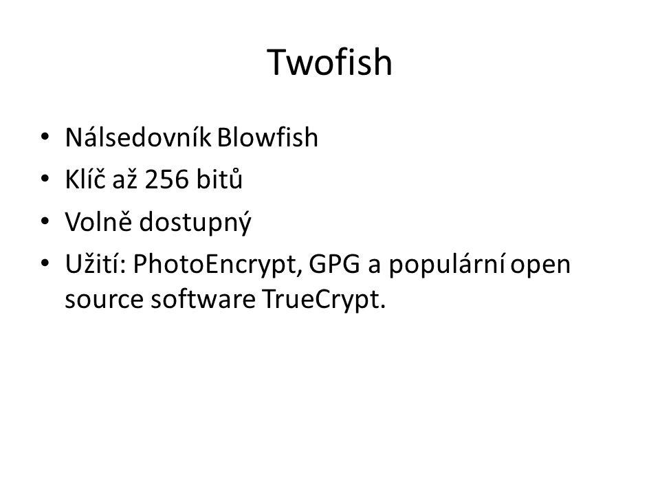 Twofish Nálsedovník Blowfish Klíč až 256 bitů Volně dostupný Užití: PhotoEncrypt, GPG a populární open source software TrueCrypt.
