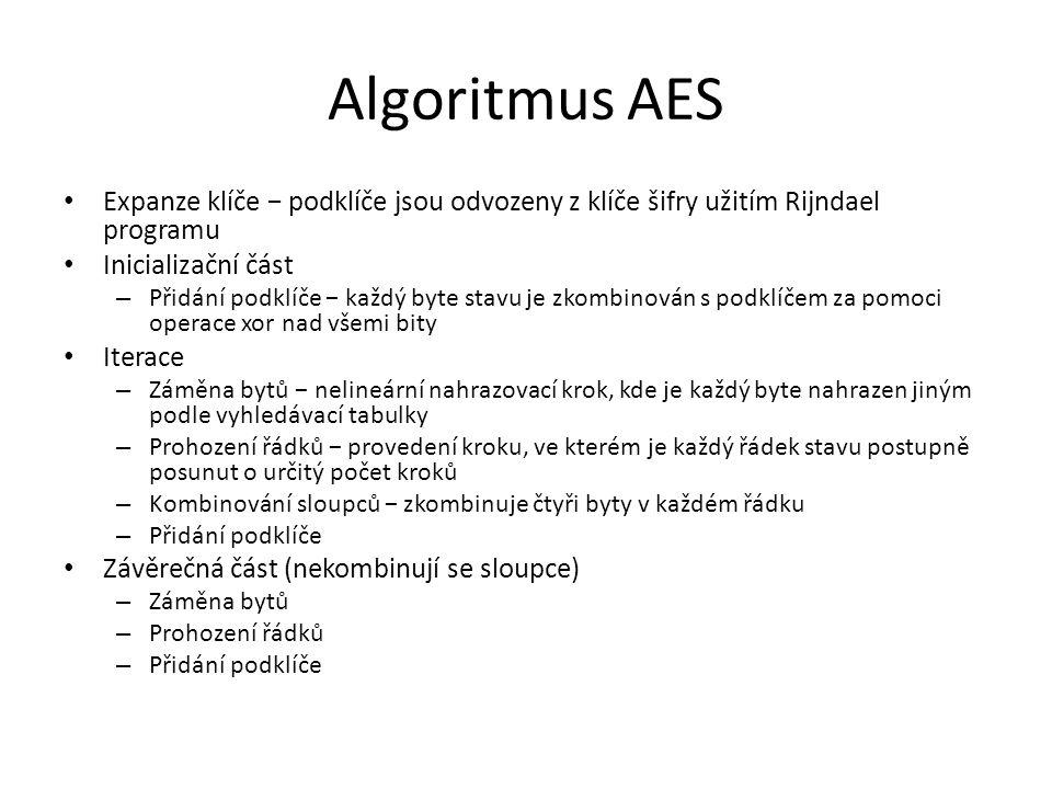 Algoritmus AES Expanze klíče − podklíče jsou odvozeny z klíče šifry užitím Rijndael programu Inicializační část – Přidání podklíče − každý byte stavu