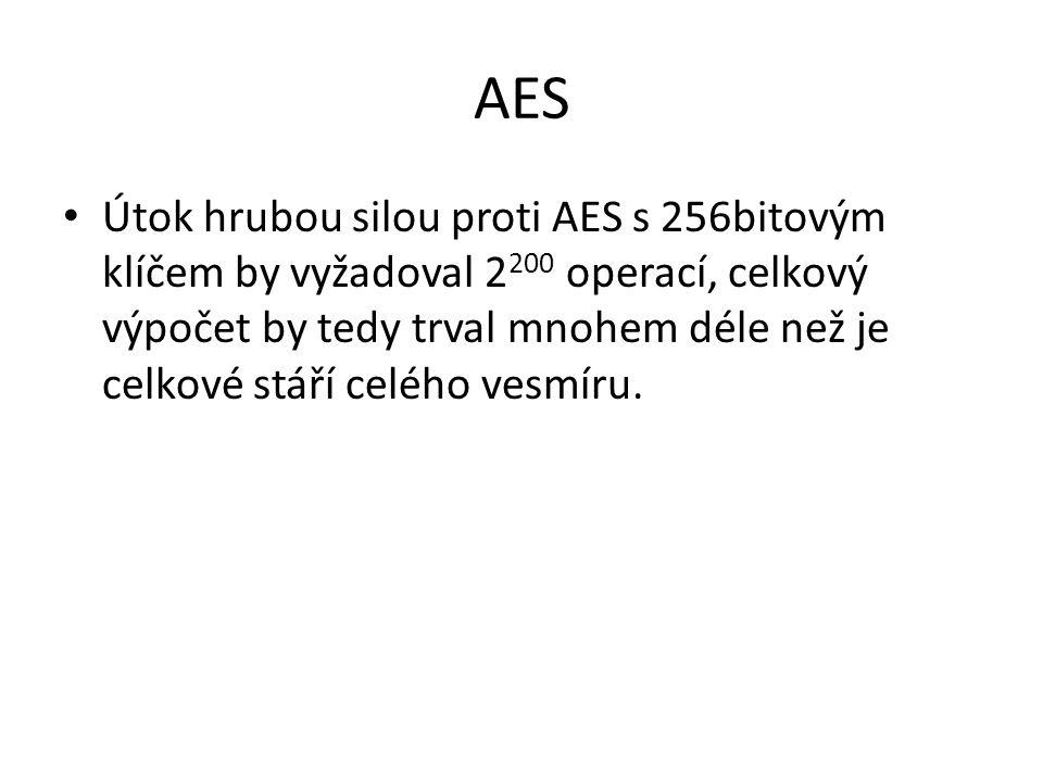 AES Útok hrubou silou proti AES s 256bitovým klíčem by vyžadoval 2 200 operací, celkový výpočet by tedy trval mnohem déle než je celkové stáří celého