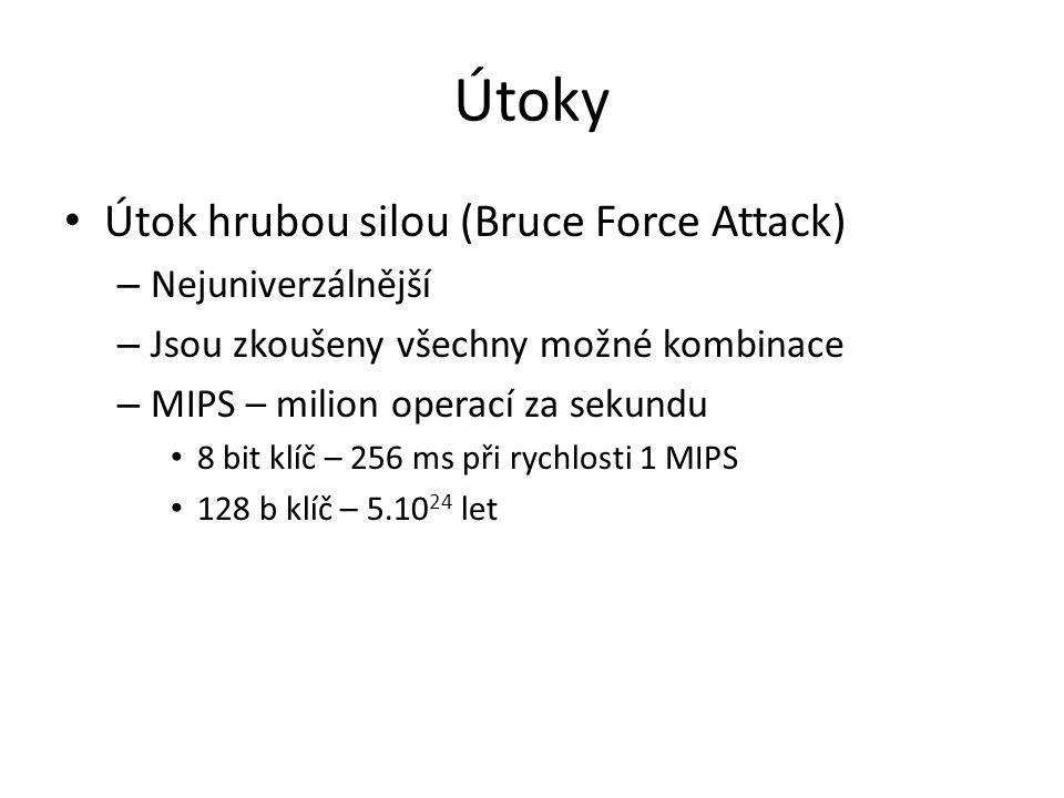 Útoky Útok hrubou silou (Bruce Force Attack) – Nejuniverzálnější – Jsou zkoušeny všechny možné kombinace – MIPS – milion operací za sekundu 8 bit klíč – 256 ms při rychlosti 1 MIPS 128 b klíč – 5.10 24 let