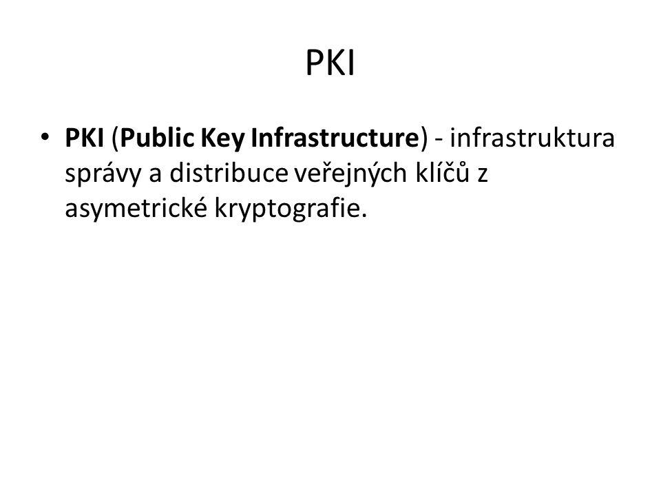 PKI PKI (Public Key Infrastructure) - infrastruktura správy a distribuce veřejných klíčů z asymetrické kryptografie.
