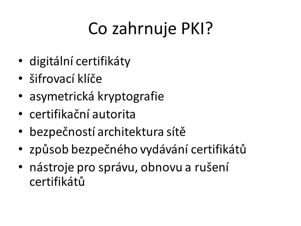 Co zahrnuje PKI? digitální certifikáty šifrovací klíče asymetrická kryptografie certifikační autorita bezpečností architektura sítě způsob bezpečného