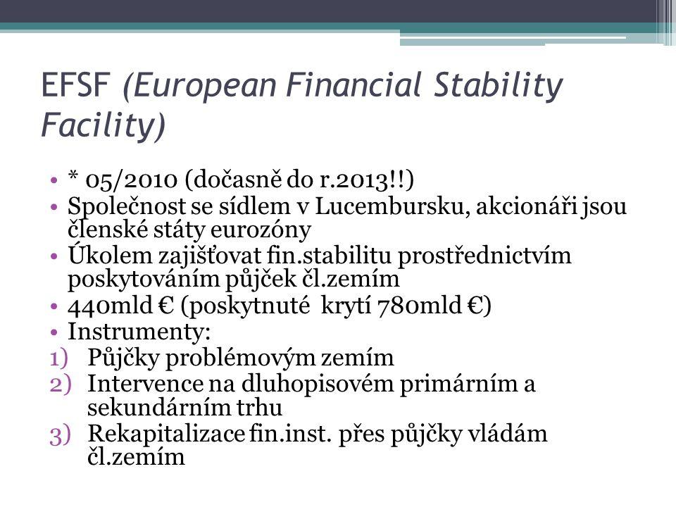 EFSF (European Financial Stability Facility) * 05/2010 (dočasně do r.2013!!) Společnost se sídlem v Lucembursku, akcionáři jsou členské státy eurozóny Úkolem zajišťovat fin.stabilitu prostřednictvím poskytováním půjček čl.zemím 440mld € (poskytnuté krytí 780mld €) Instrumenty: 1)Půjčky problémovým zemím 2)Intervence na dluhopisovém primárním a sekundárním trhu 3)Rekapitalizace fin.inst.
