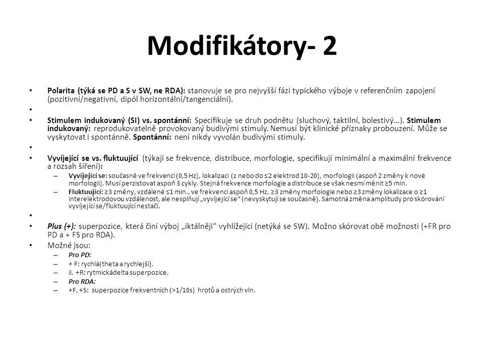 Modifikátory- 2 Polarita (týká se PD a S v SW, ne RDA): stanovuje se pro nejvyšší fázi typického výboje v referenčním zapojení (pozitivní/negativní, d