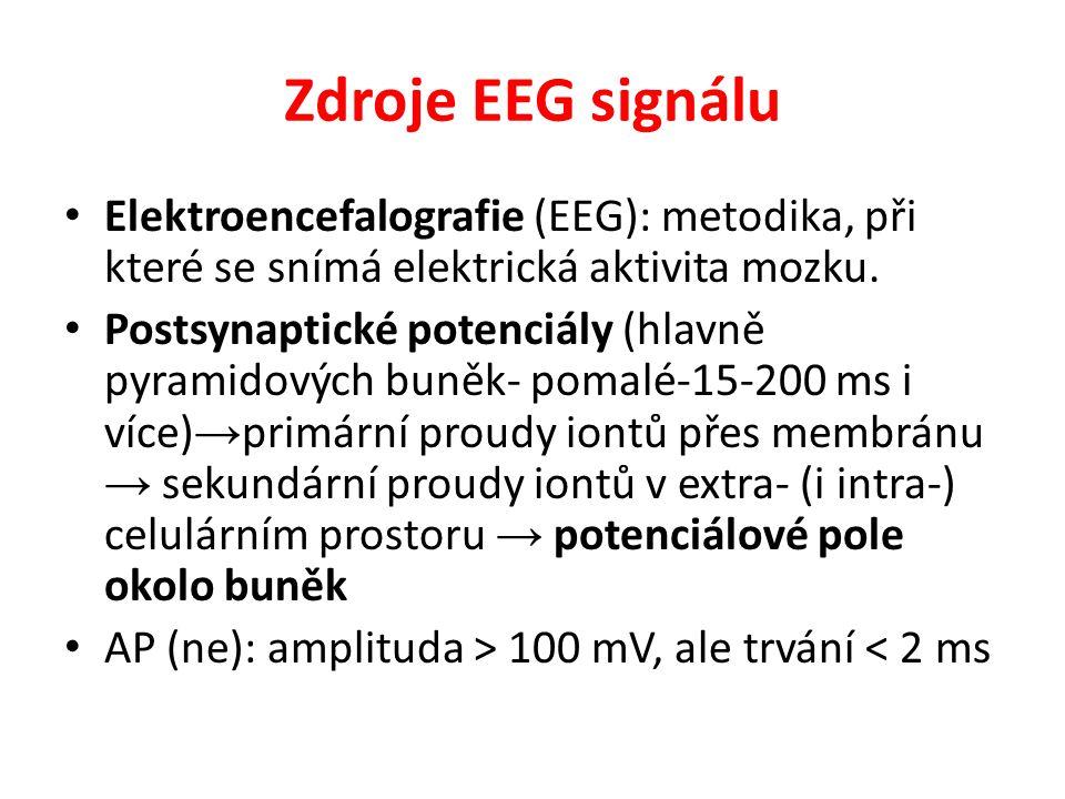Zdroje EEG signálu Elektroencefalografie (EEG): metodika, při které se snímá elektrická aktivita mozku. Postsynaptické potenciály (hlavně pyramidových