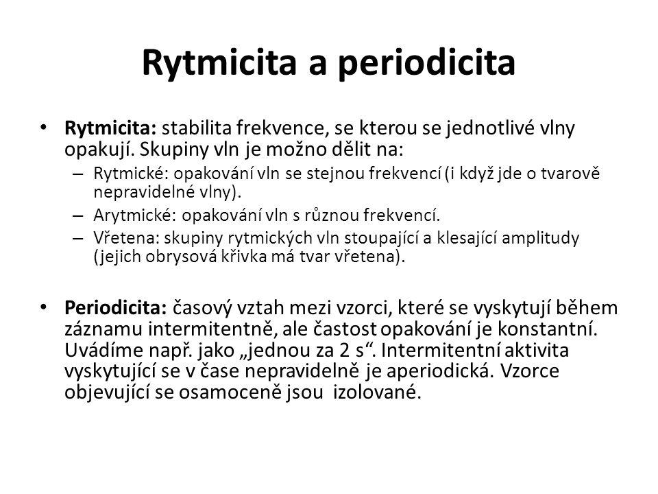 Rytmicita a periodicita Rytmicita: stabilita frekvence, se kterou se jednotlivé vlny opakují. Skupiny vln je možno dělit na: – Rytmické: opakování vln