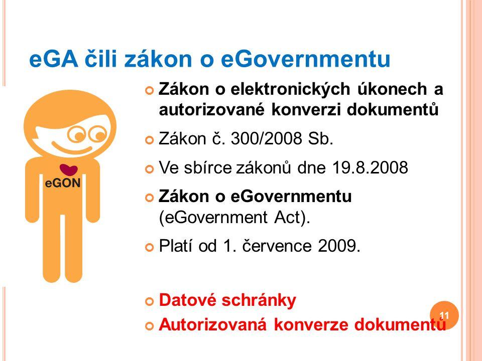 eGA čili zákon o eGovernmentu Zákon o elektronických úkonech a autorizované konverzi dokumentů Zákon č. 300/2008 Sb. Ve sbírce zákonů dne 19.8.2008 Zá