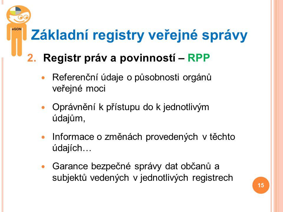 Základní registry veřejné správy 2.Registr práv a povinností – RPP Referenční údaje o působnosti orgánů veřejné moci Oprávnění k přístupu do k jednotl
