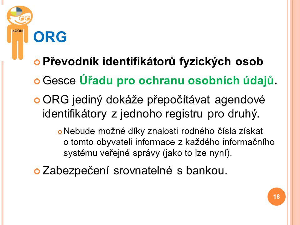 ORG Převodník identifikátorů fyzických osob Gesce Úřadu pro ochranu osobních údajů. ORG jediný dokáže přepočítávat agendové identifikátory z jednoho r