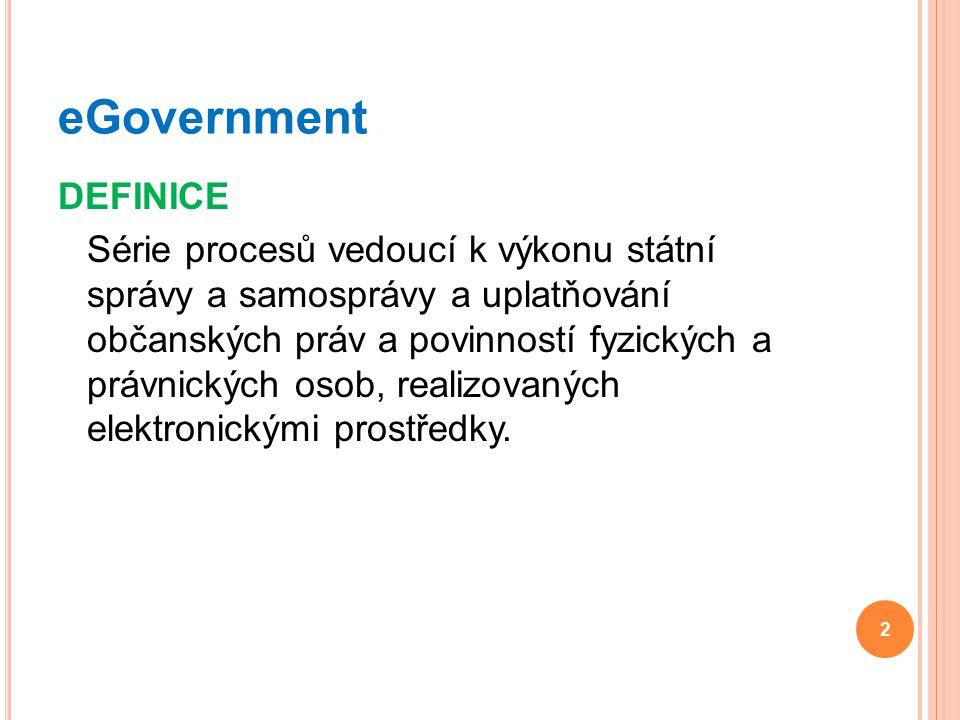 DEFINICE Série procesů vedoucí k výkonu státní správy a samosprávy a uplatňování občanských práv a povinností fyzických a právnických osob, realizovan