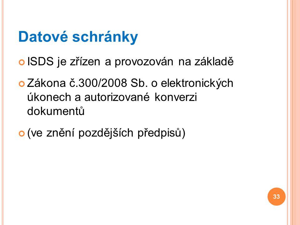 Datové schránky ISDS je zřízen a provozován na základě Zákona č.300/2008 Sb. o elektronických úkonech a autorizované konverzi dokumentů (ve znění pozd