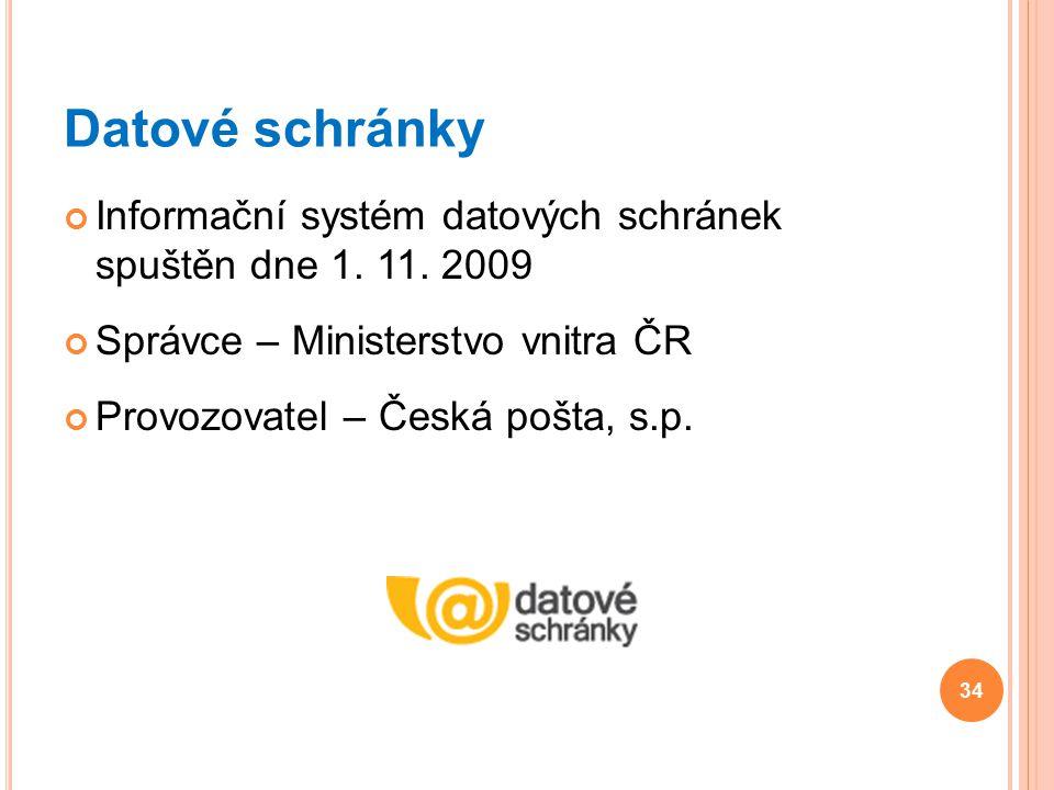 Datové schránky Informační systém datových schránek spuštěn dne 1. 11. 2009 Správce – Ministerstvo vnitra ČR Provozovatel – Česká pošta, s.p. 34