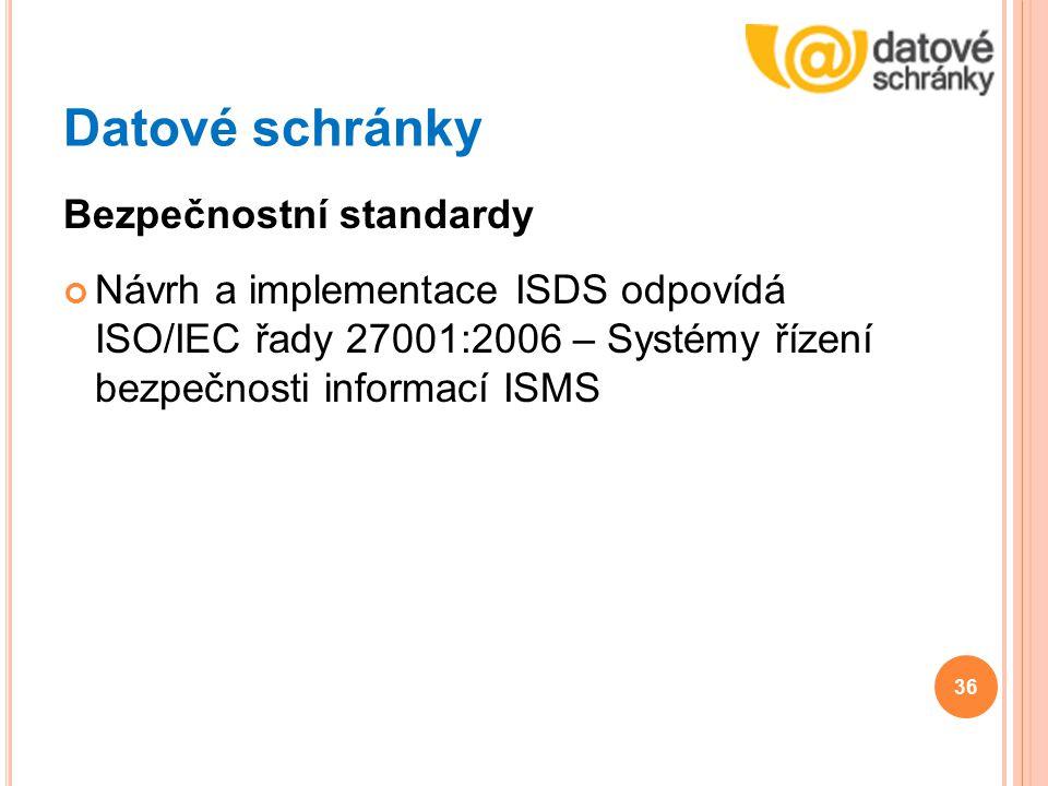 Datové schránky Bezpečnostní standardy Návrh a implementace ISDS odpovídá ISO/IEC řady 27001:2006 – Systémy řízení bezpečnosti informací ISMS 36