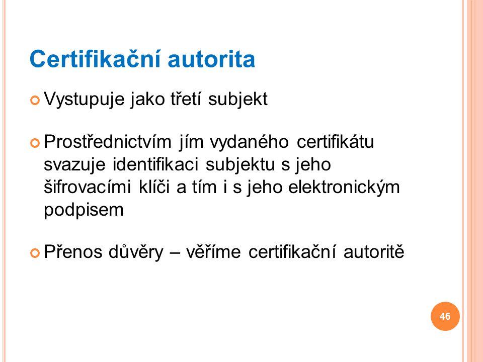 Certifikační autorita Vystupuje jako třetí subjekt Prostřednictvím jím vydaného certifikátu svazuje identifikaci subjektu s jeho šifrovacími klíči a t