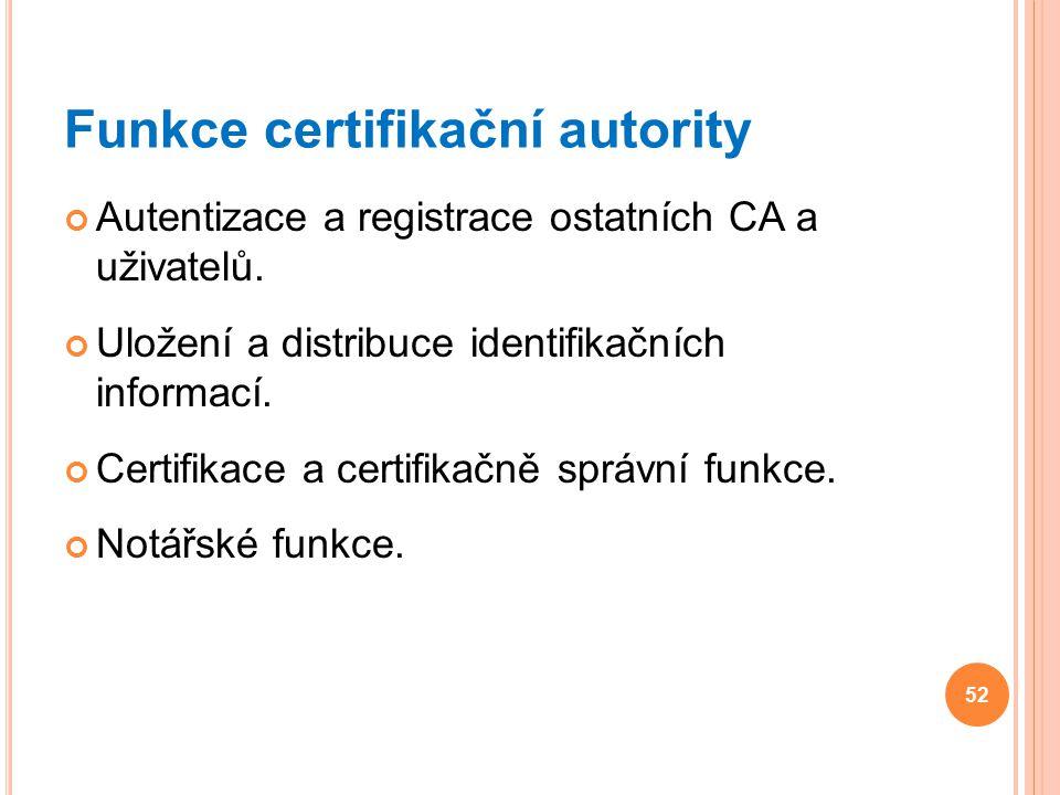 Funkce certifikační autority Autentizace a registrace ostatních CA a uživatelů. Uložení a distribuce identifikačních informací. Certifikace a certifik