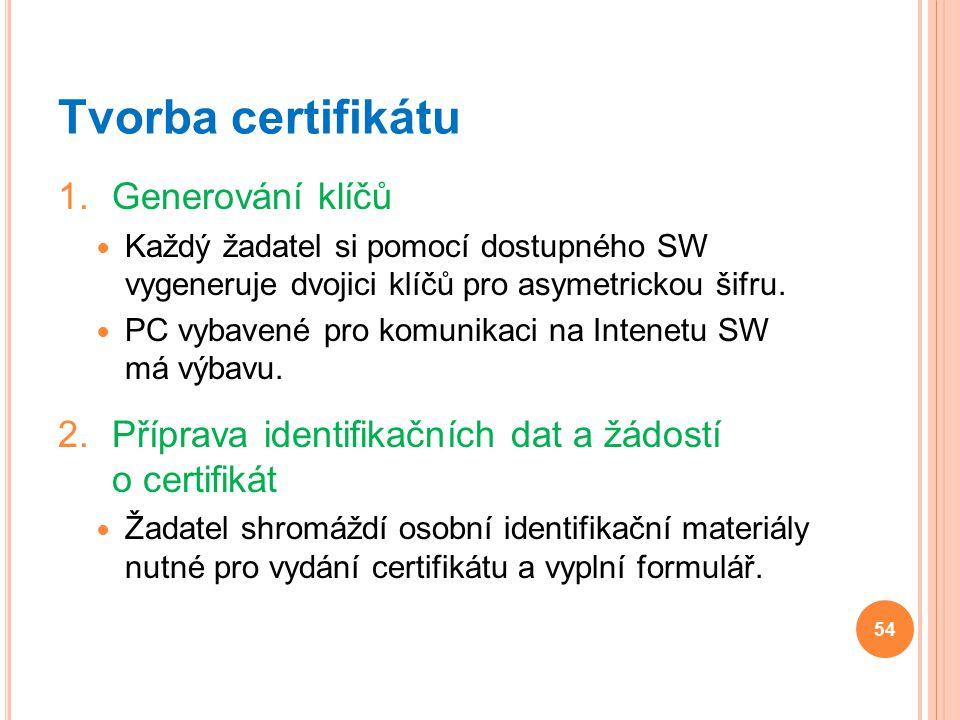 Tvorba certifikátu 1.Generování klíčů Každý žadatel si pomocí dostupného SW vygeneruje dvojici klíčů pro asymetrickou šifru. PC vybavené pro komunikac