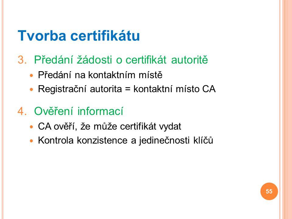 Tvorba certifikátu 3.Předání žádosti o certifikát autoritě Předání na kontaktním místě Registrační autorita = kontaktní místo CA 4.Ověření informací C
