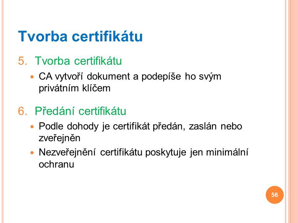 Tvorba certifikátu 5.Tvorba certifikátu CA vytvoří dokument a podepíše ho svým privátním klíčem 6.Předání certifikátu Podle dohody je certifikát předá
