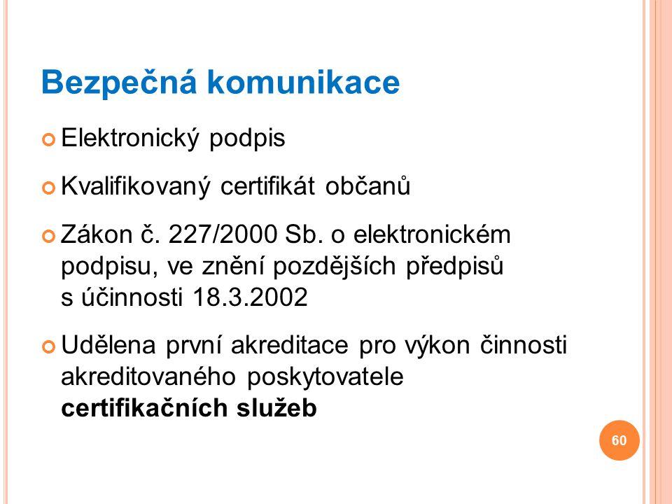 Bezpečná komunikace Elektronický podpis Kvalifikovaný certifikát občanů Zákon č. 227/2000 Sb. o elektronickém podpisu, ve znění pozdějších předpisů s