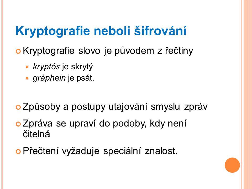 Kryptografie neboli šifrování Kryptografie slovo je původem z řečtiny kryptós je skrytý gráphein je psát. Způsoby a postupy utajování smyslu zpráv Zpr