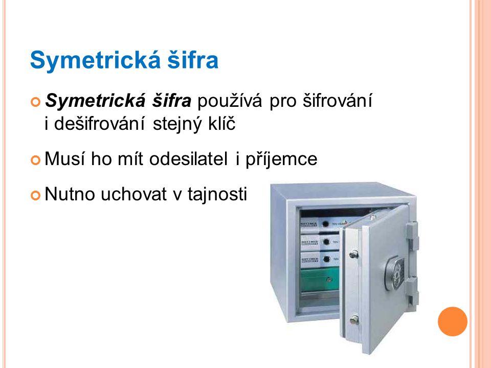 Symetrická šifra Symetrická šifra používá pro šifrování i dešifrování stejný klíč Musí ho mít odesilatel i příjemce Nutno uchovat v tajnosti