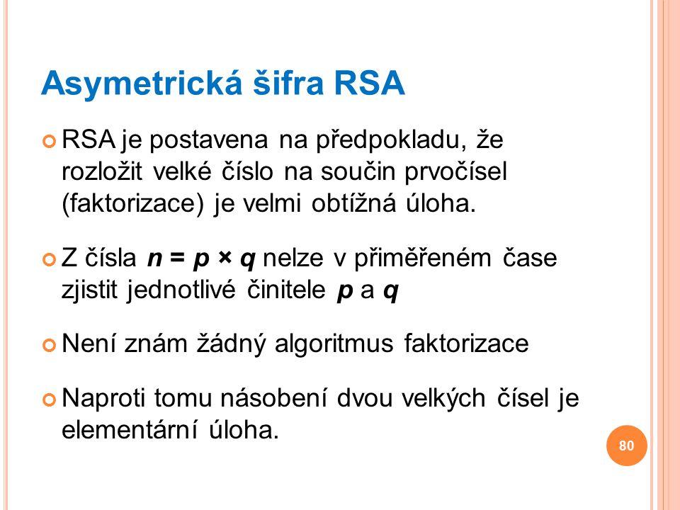 Asymetrická šifra RSA RSA je postavena na předpokladu, že rozložit velké číslo na součin prvočísel (faktorizace) je velmi obtížná úloha. Z čísla n = p