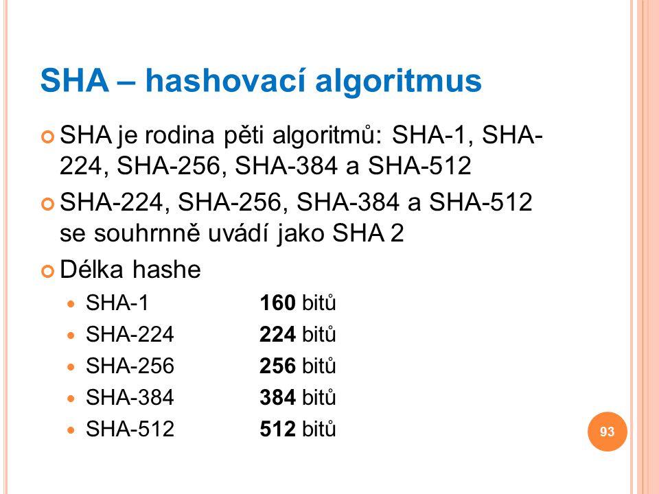 SHA – hashovací algoritmus SHA je rodina pěti algoritmů: SHA-1, SHA- 224, SHA-256, SHA-384 a SHA-512 SHA-224, SHA-256, SHA-384 a SHA-512 se souhrnně u